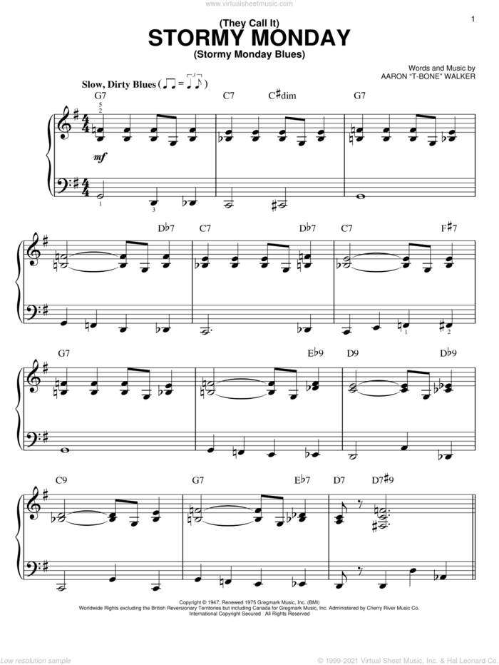 (They Call It) Stormy Monday (Stormy Monday Blues) sheet music for piano solo by Aaron 'T-Bone' Walker, easy skill level
