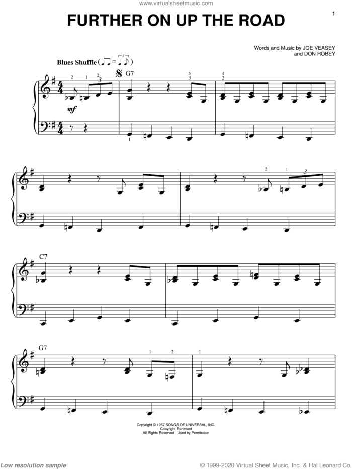 Further On Up The Road sheet music for piano solo by Eric Clapton, Don Robey and Joe Veasey, easy skill level