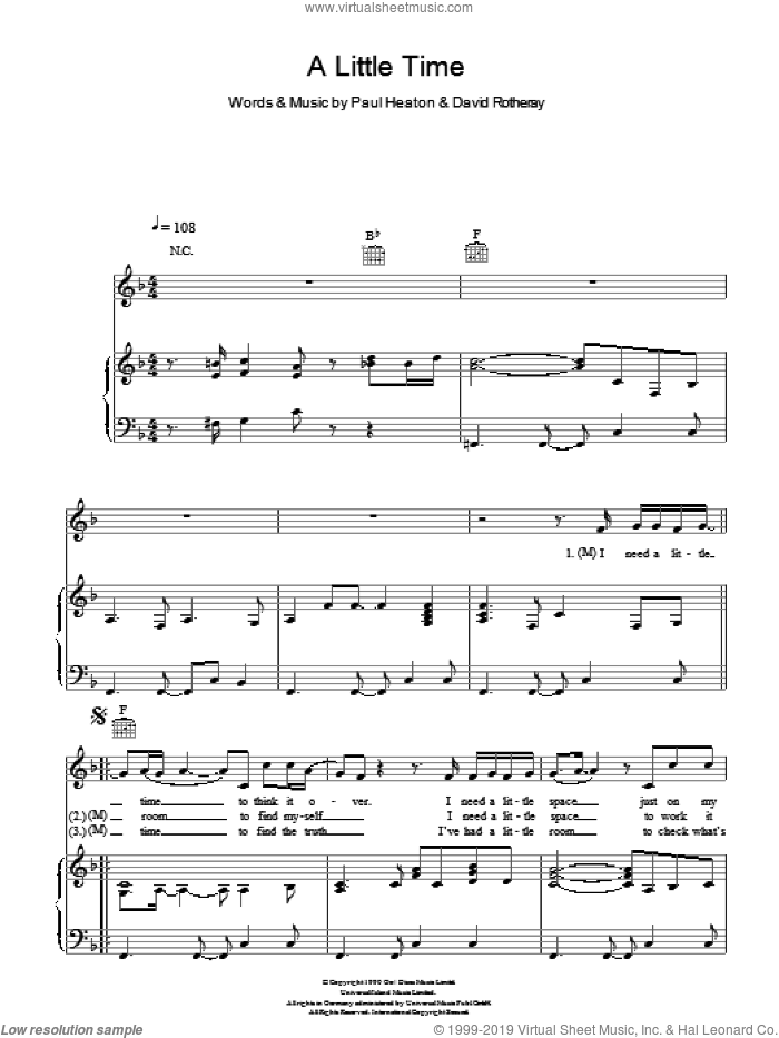 A Little Time sheet music for voice, piano or guitar by The Beautiful South, David Rotheray and Paul Heaton, intermediate skill level
