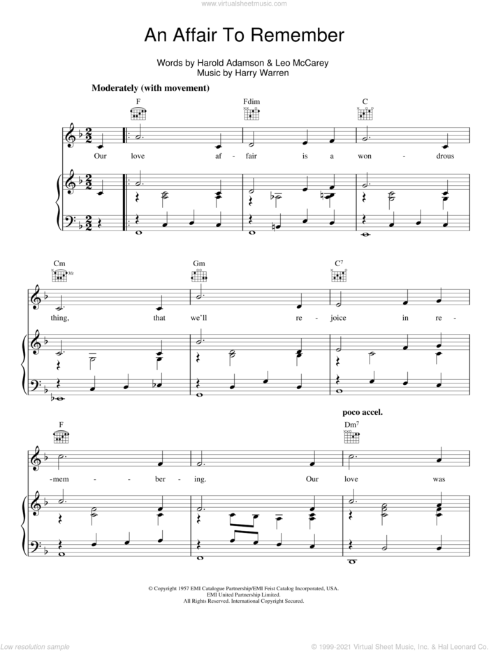 An Affair To Remember sheet music for voice, piano or guitar by Harry Warren, Harold Adamson and Leo McCarey, intermediate skill level