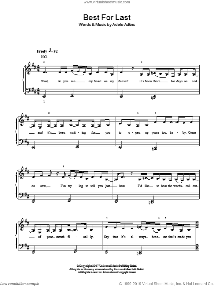 Best For Last sheet music for piano solo by Adele and Adele Adkins, easy skill level