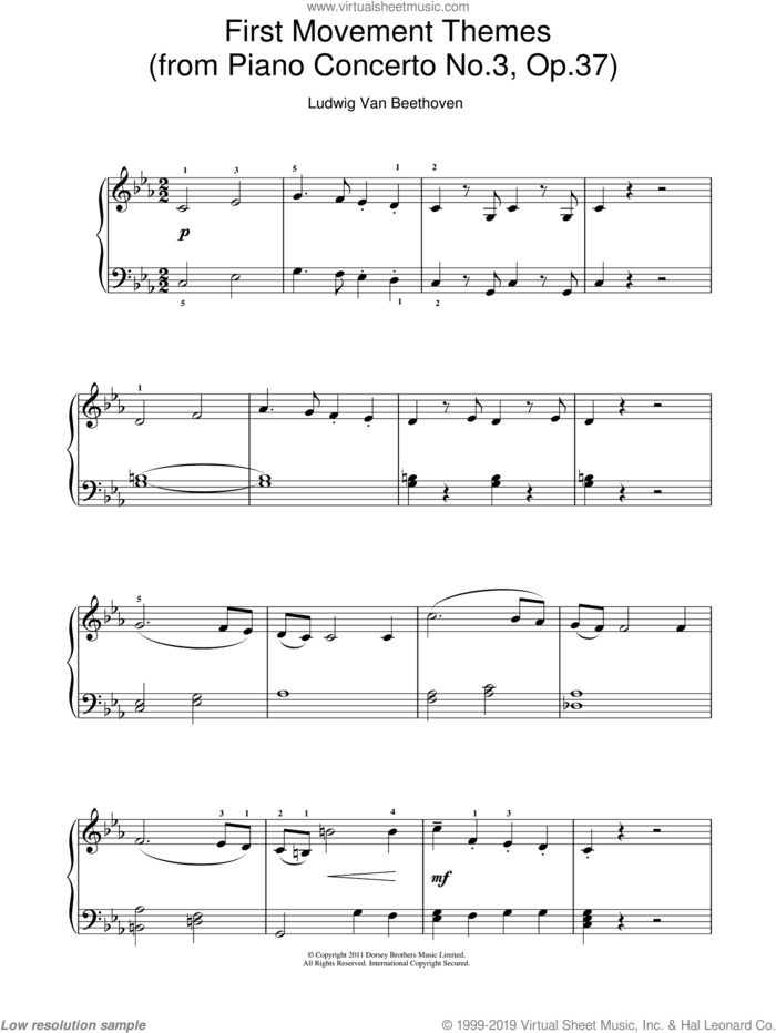 First Movement Themes (from Piano Concerto No.3, Op.37) sheet music for piano solo by Ludwig van Beethoven, classical score, easy skill level