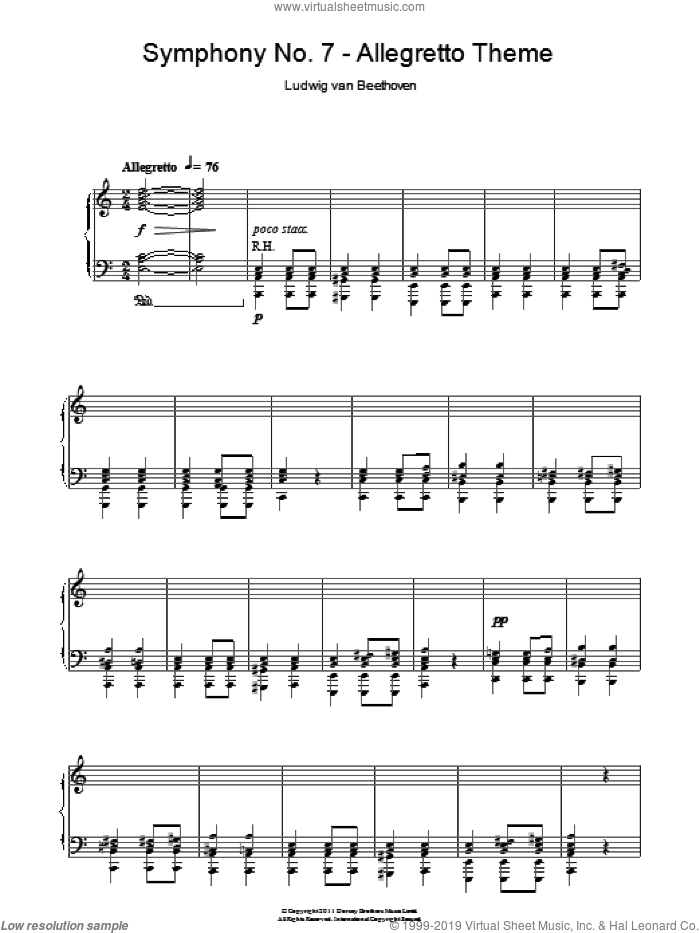 2nd Movement Theme - Allegretto (from Symphony No.7) sheet music for piano solo by Ludwig van Beethoven, classical score, intermediate skill level