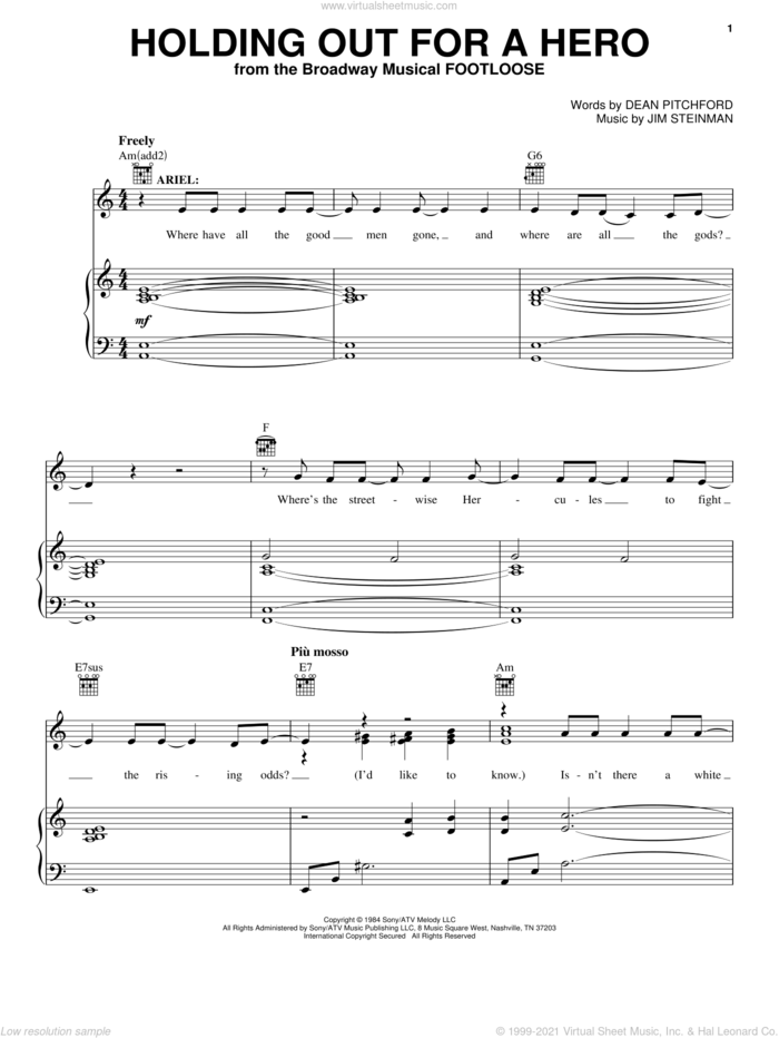 Holding Out For A Hero sheet music for voice, piano or guitar by Bonnie Tyler, Footloose (Musical), Dean Pitchford and Jim Steinman, intermediate skill level