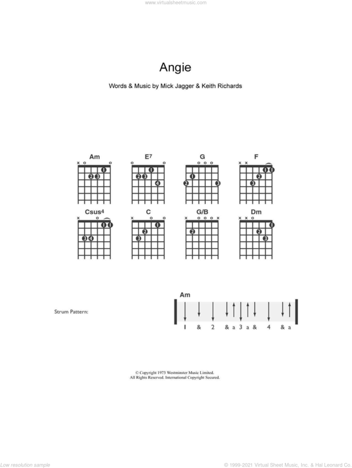 Angie sheet music for guitar solo (chords) by The Rolling Stones, Keith Richards and Mick Jagger, easy guitar (chords)