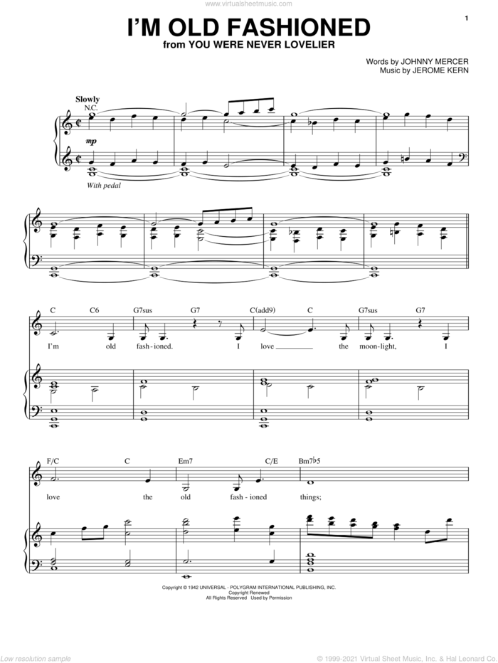 I'm Old Fashioned sheet music for voice and piano by Judy Garland, Jerome Kern and Johnny Mercer, intermediate skill level