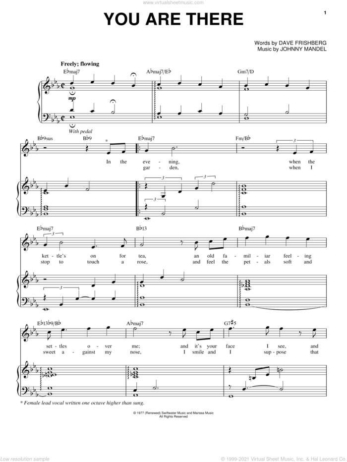 You Are There sheet music for voice and piano by Irene Kral, Dave Frishberg and Johnny Mandel, intermediate skill level