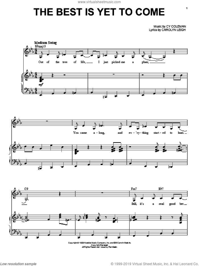 The Best Is Yet To Come sheet music for voice and piano by Shirley Horn, Carolyn Leigh and Cy Coleman, intermediate skill level