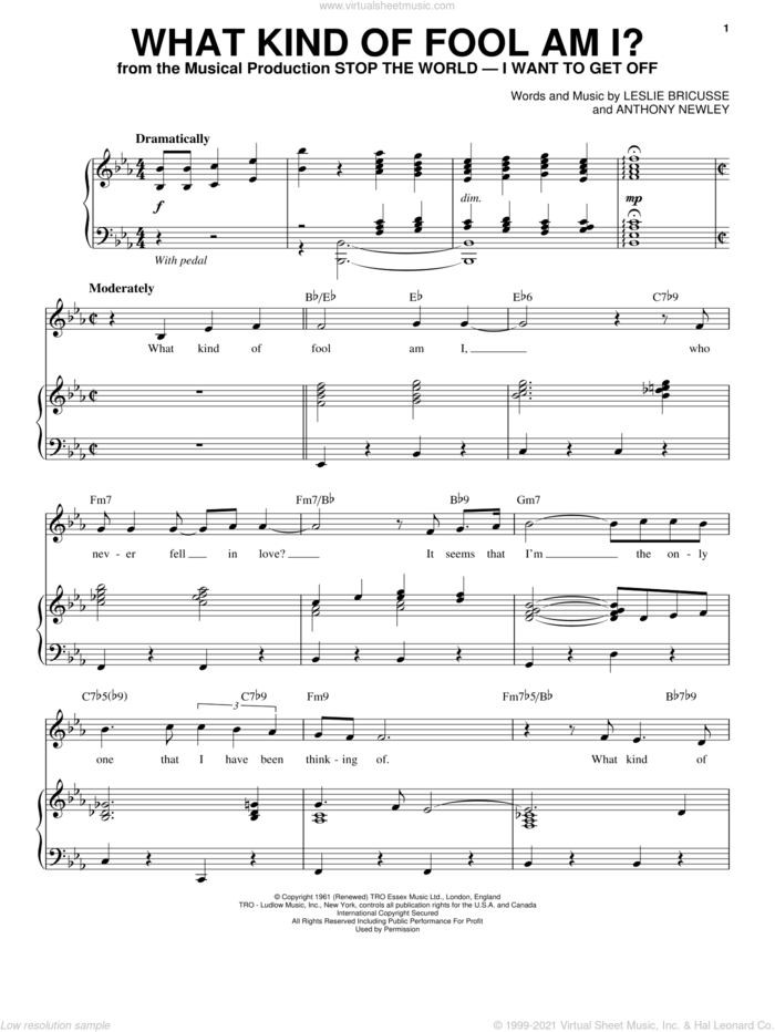 What Kind Of Fool Am I? sheet music for voice and piano by Leslie Bricusse and Anthony Newley, intermediate skill level
