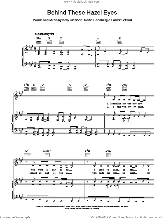 Behind These Hazel Eyes sheet music for voice, piano or guitar by Kelly Clarkson, Lukasz Gottwald and Martin Sandberg, intermediate skill level