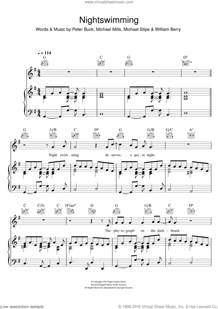 Nightswimming sheet music for voice, piano or guitar by R.E.M., Michael Stipe, Mike Mills, Peter Buck and William Berry, intermediate skill level