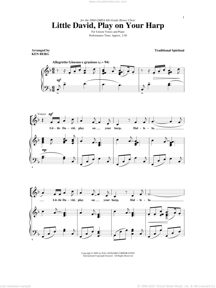 Little David, Play On Your Harp sheet music for choir (Unison) by Ken Berg, Henry Leck and Miscellaneous, intermediate skill level