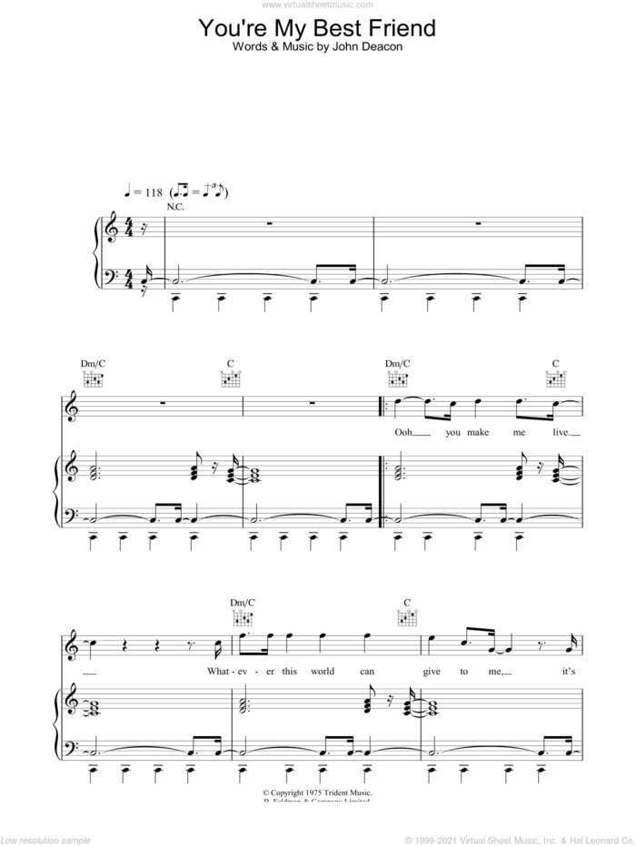 You're My Best Friend sheet music for voice, piano or guitar by Queen and John Deacon, intermediate skill level