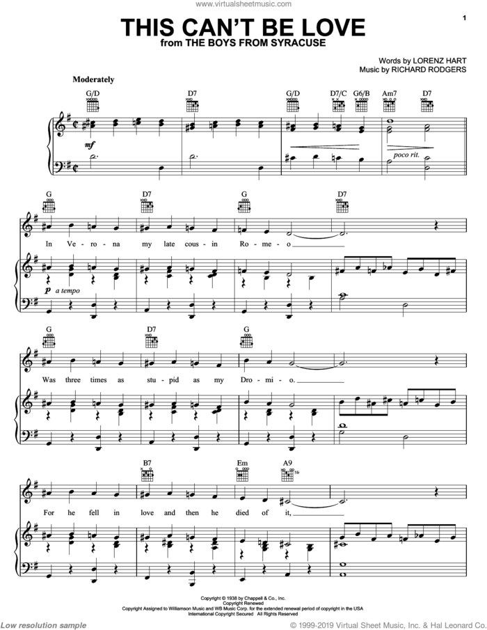 This Can't Be Love sheet music for voice, piano or guitar by Diana Krall, Rodgers & Hart, Lorenz Hart and Richard Rodgers, intermediate skill level