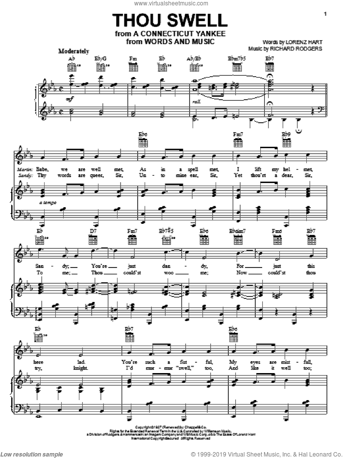 Thou Swell sheet music for voice, piano or guitar by Rodgers & Hart, Lorenz Hart and Richard Rodgers, intermediate skill level