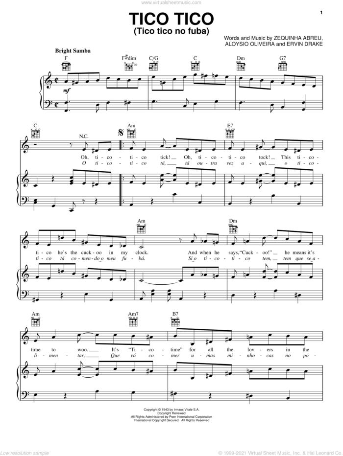 Tico Tico (Tico Tico No Fuba) sheet music for voice, piano or guitar by Carmen Miranda, Aloysio Oliveira, Ervin Drake and Zequinha de Abreu, intermediate skill level