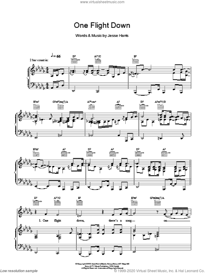 One Flight Down sheet music for voice, piano or guitar by Norah Jones and Jesse Harris, intermediate skill level