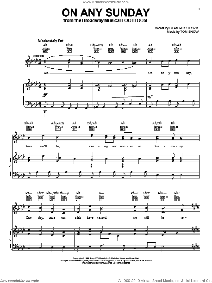 On Any Sunday sheet music for voice, piano or guitar by Dean Pitchford, Footloose (Musical) and Tom Snow, intermediate skill level