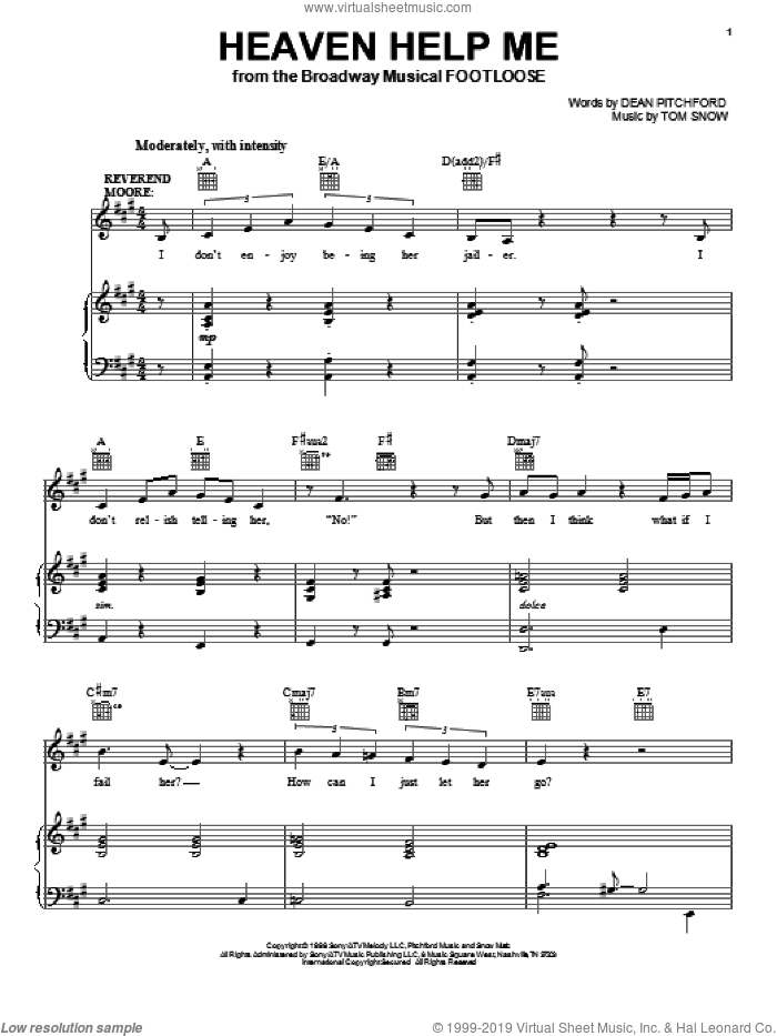 Heaven Help Me sheet music for voice, piano or guitar by Dean Pitchford, Footloose (Musical) and Tom Snow, intermediate skill level