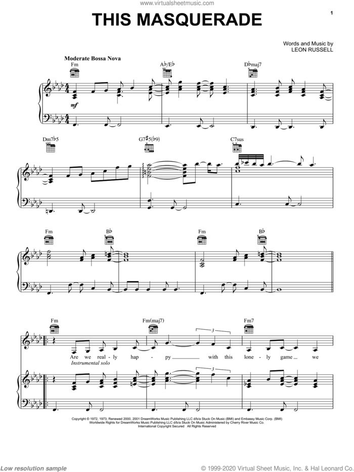 This Masquerade sheet music for voice, piano or guitar by Carpenters, George Benson and Leon Russell, intermediate skill level