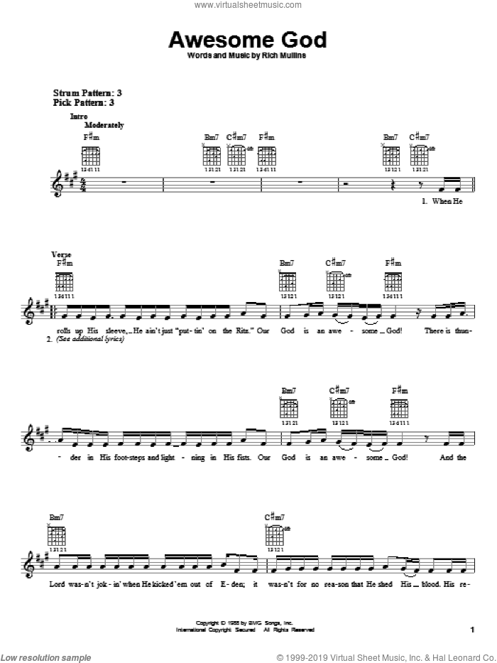 Awesome God sheet music for guitar solo (chords) by Rich Mullins and Michael W. Smith, easy guitar (chords)
