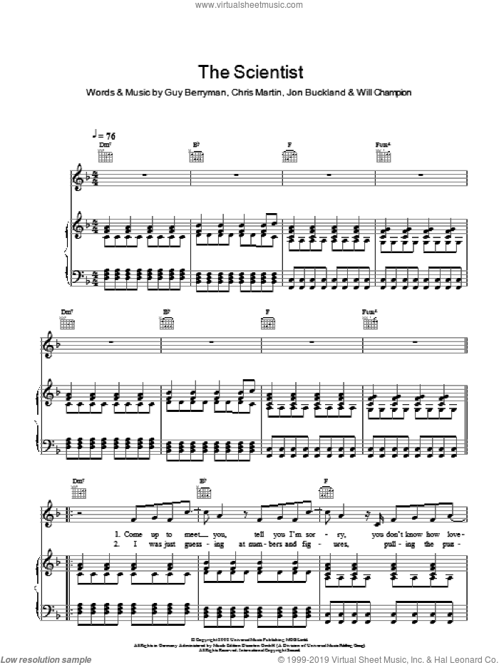 The Scientist sheet music for voice, piano or guitar by Coldplay, Chris Martin, Guy Berryman, Jon Buckland and Will Champion, intermediate skill level