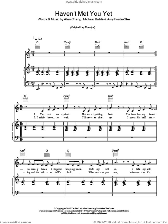 Haven't Met You Yet sheet music for voice, piano or guitar by Michael Buble, Alan Chang and Amy Foster-Gillies, intermediate skill level