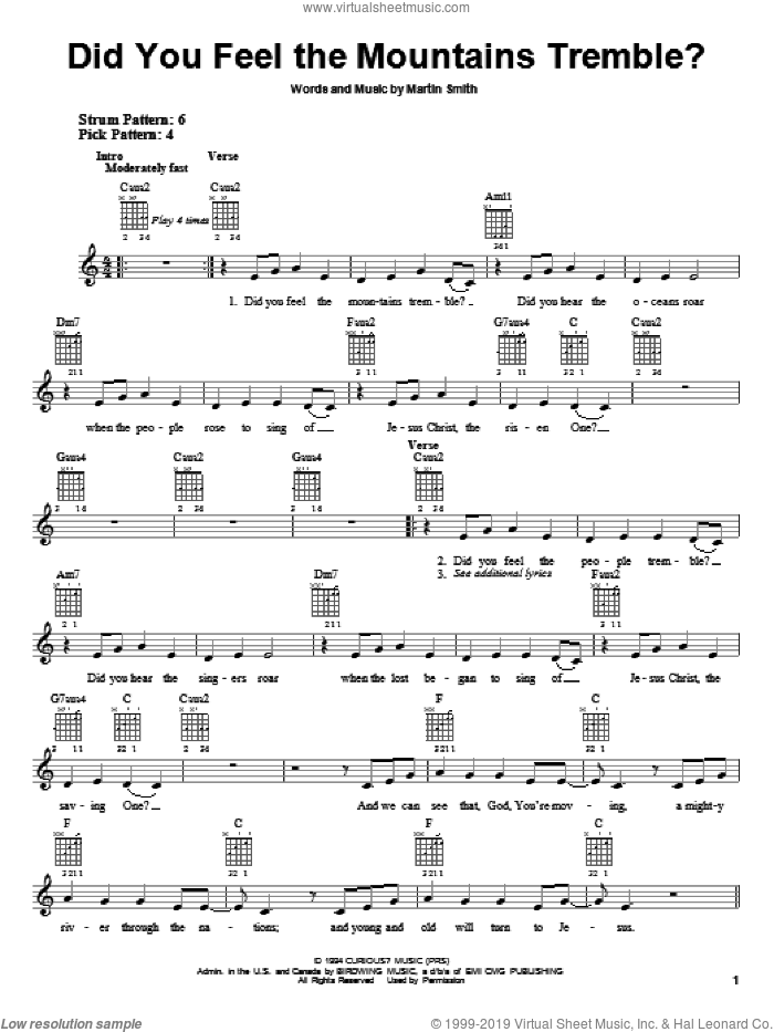 Did You Feel The Mountains Tremble? sheet music for guitar solo (chords) by Delirious?, Passion Band and Martin Smith, easy guitar (chords)