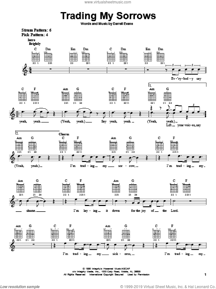 Trading My Sorrows sheet music for guitar solo (chords) by Darrell Evans, easy guitar (chords)