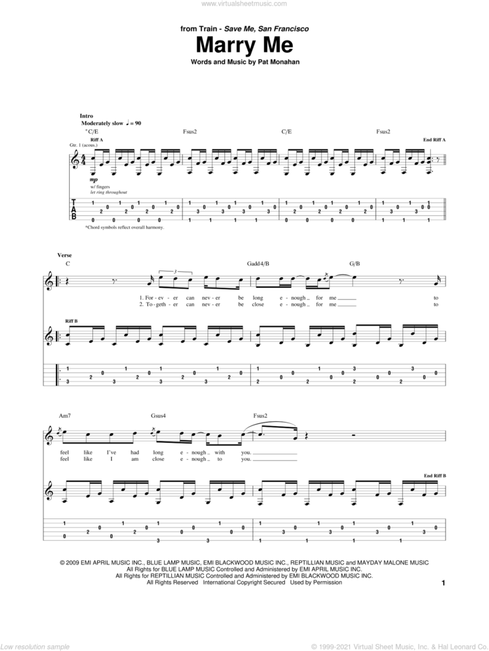 Marry Me sheet music for guitar (tablature) by Train and Pat Monahan, wedding score, intermediate skill level