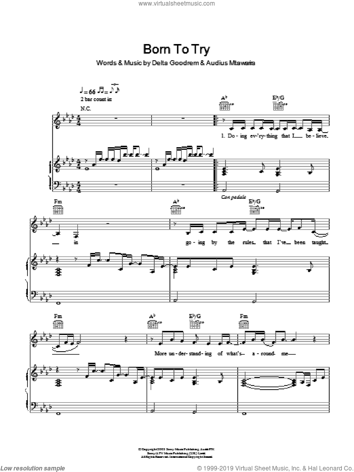 Born To Try sheet music for voice, piano or guitar by Delta Goodrem and Audius Mtawarira, intermediate skill level