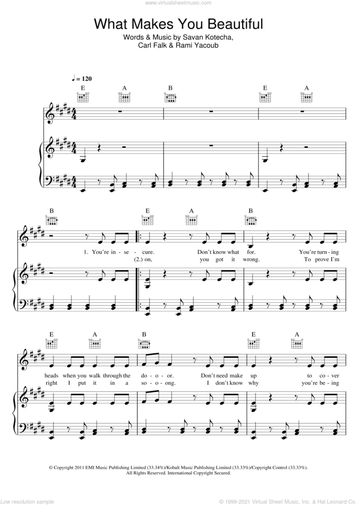 What Makes You Beautiful sheet music for voice, piano or guitar by One Direction, Carl Falk, Rami and Savan Kotecha, intermediate skill level