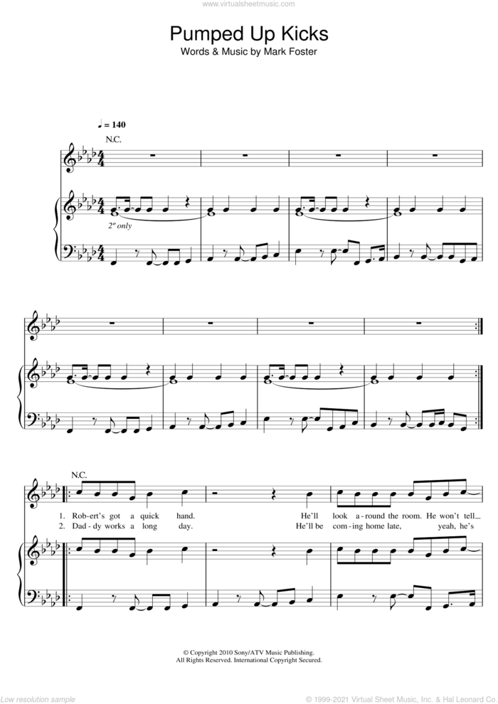 Pumped Up Kicks sheet music for voice, piano or guitar by Foster The People and Mark Foster, intermediate skill level
