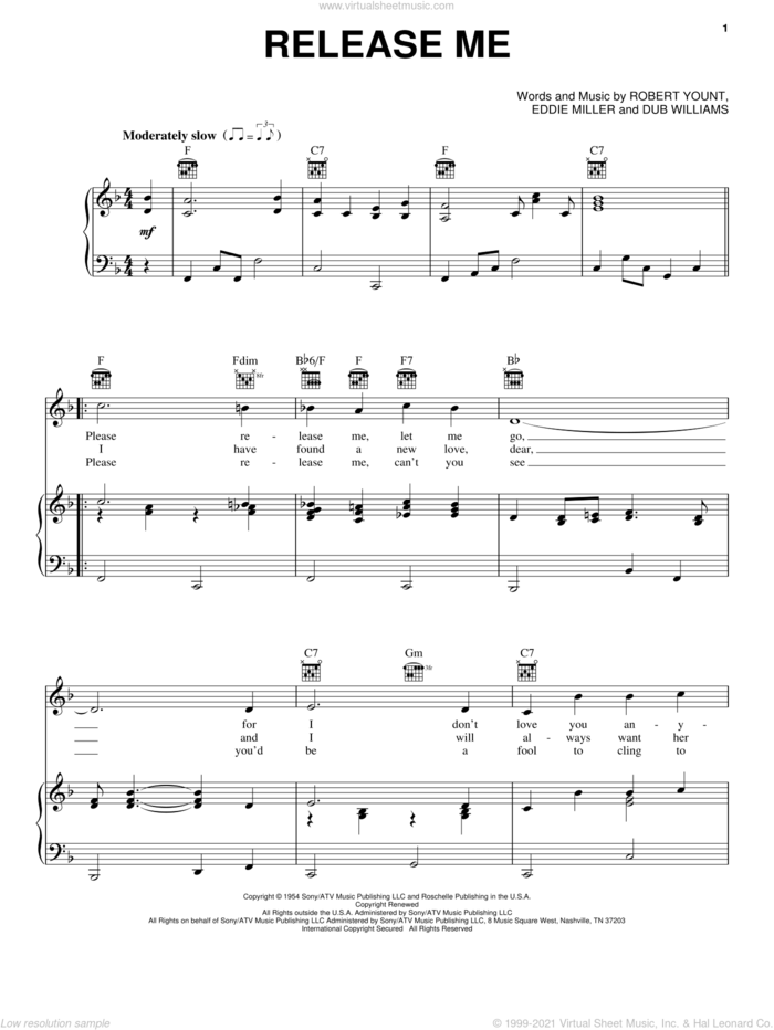 Release Me sheet music for voice, piano or guitar by Engelbert Humperdinck, Elvis Presley, Kitty Wells, Ray Price, Dub Williams, Eddie Miller and Robert Yount, intermediate skill level