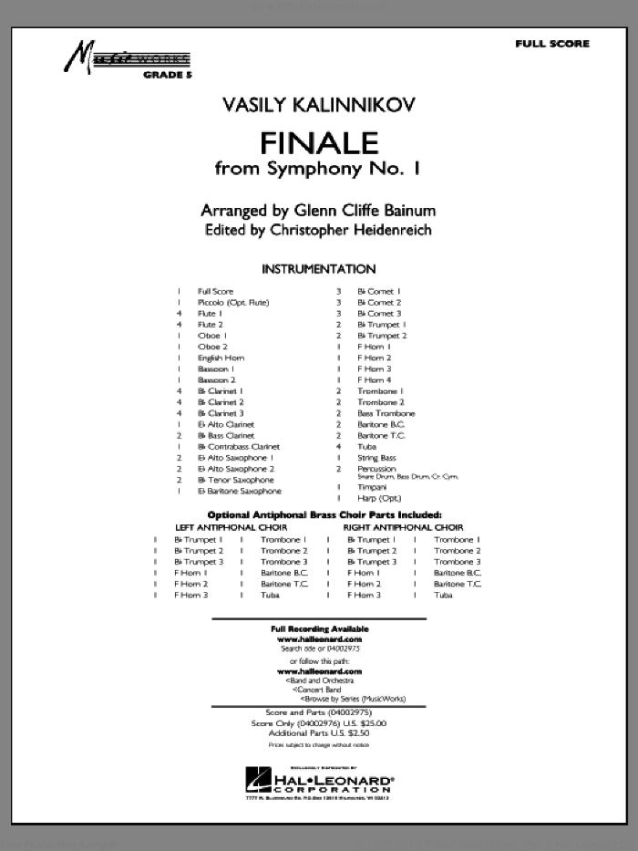 Finale from Symphony No. 1 (COMPLETE) sheet music for concert band by Christopher Heidenreich, Vasily Kalinnikov and Glenn Cliffe Bainum, classical score, intermediate skill level