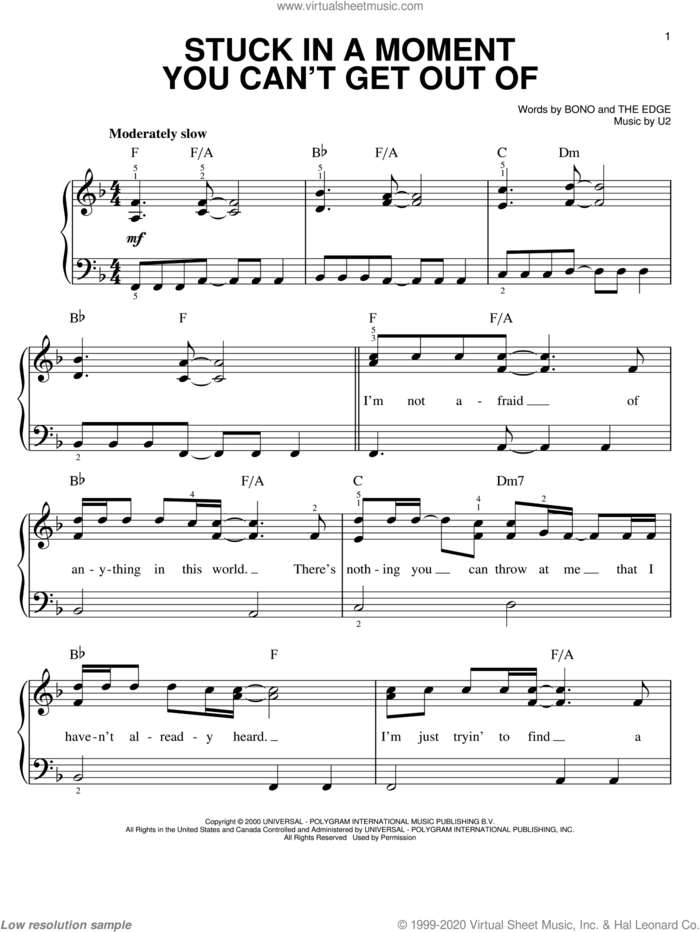Stuck In A Moment You Can't Get Out Of sheet music for piano solo by U2, Bono and The Edge, easy skill level