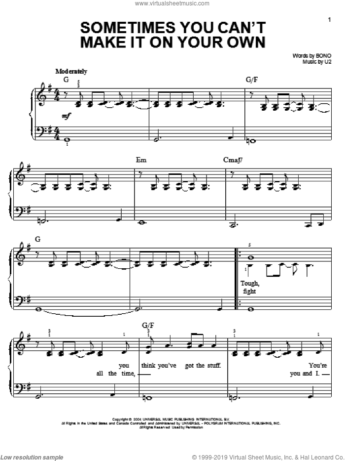 Sometimes You Can't Make It On Your Own sheet music for piano solo by U2 and Bono, easy skill level