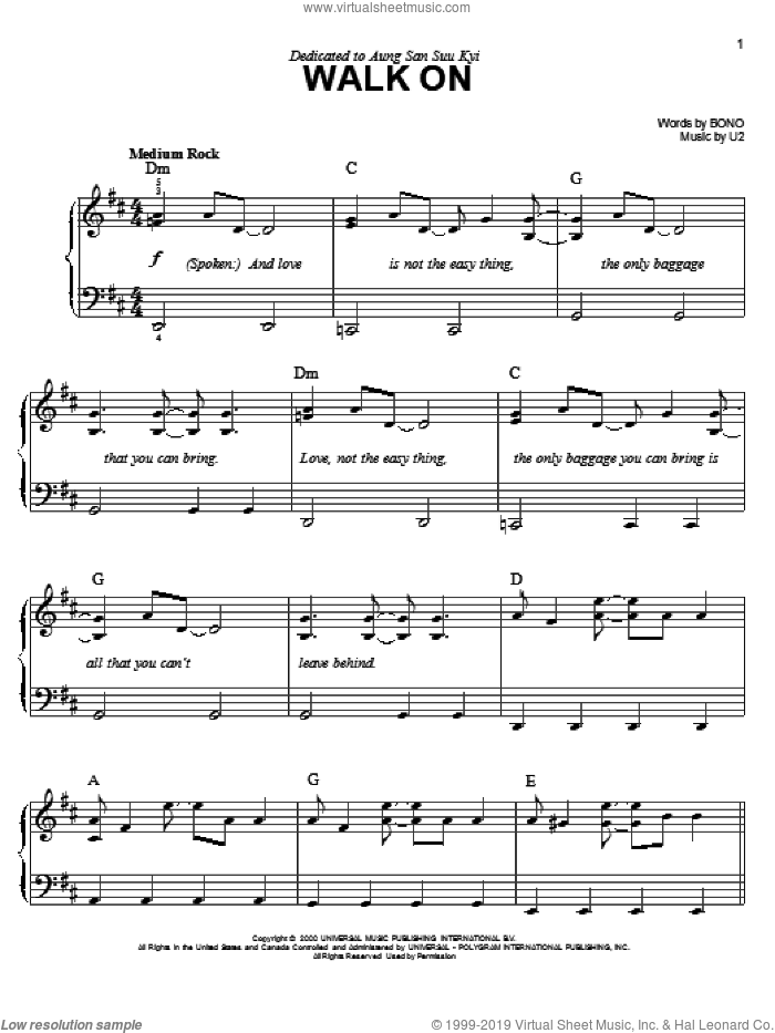 Walk On sheet music for piano solo by U2 and Bono, easy skill level