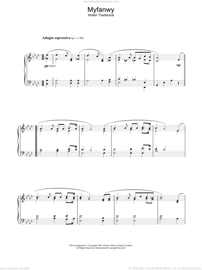 Myfanwy sheet music for piano solo by Traditional Welsh Song and Miscellaneous, intermediate skill level