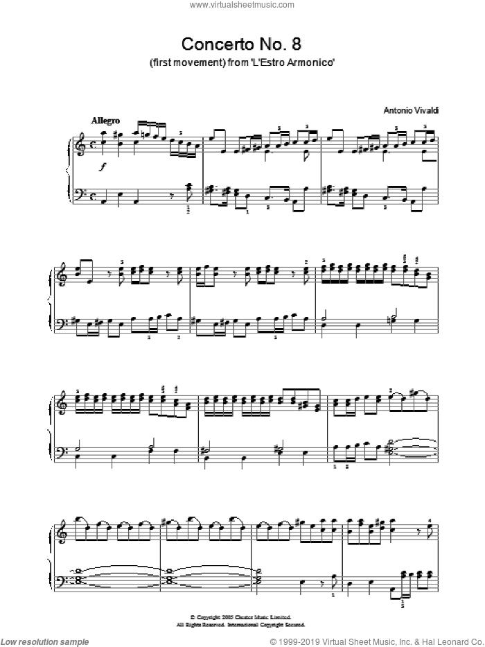 Allegro from 'L'Estro Armonico' Op.3 sheet music for piano solo by Antonio Vivaldi, classical score, intermediate skill level