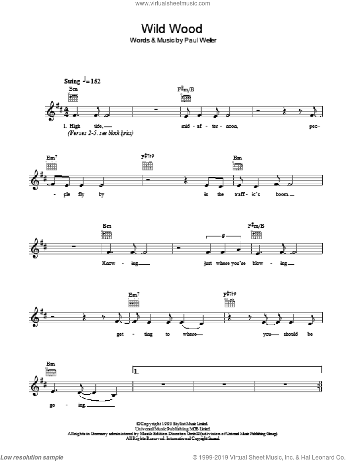 Wild Wood sheet music for voice and other instruments (fake book) by Paul Weller, intermediate skill level