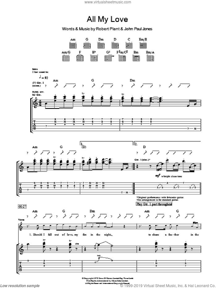 All My Love sheet music for guitar (tablature) by Led Zeppelin, John Paul Jones and Robert Plant, intermediate skill level