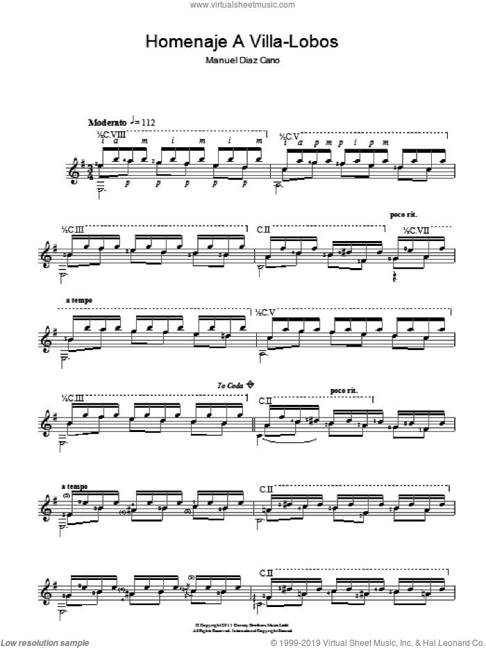 Homenaje A Villa-Lobos sheet music for guitar solo (chords) by Manuel Diaz Cano and Manuel Diaz Cano, classical score, easy guitar (chords)