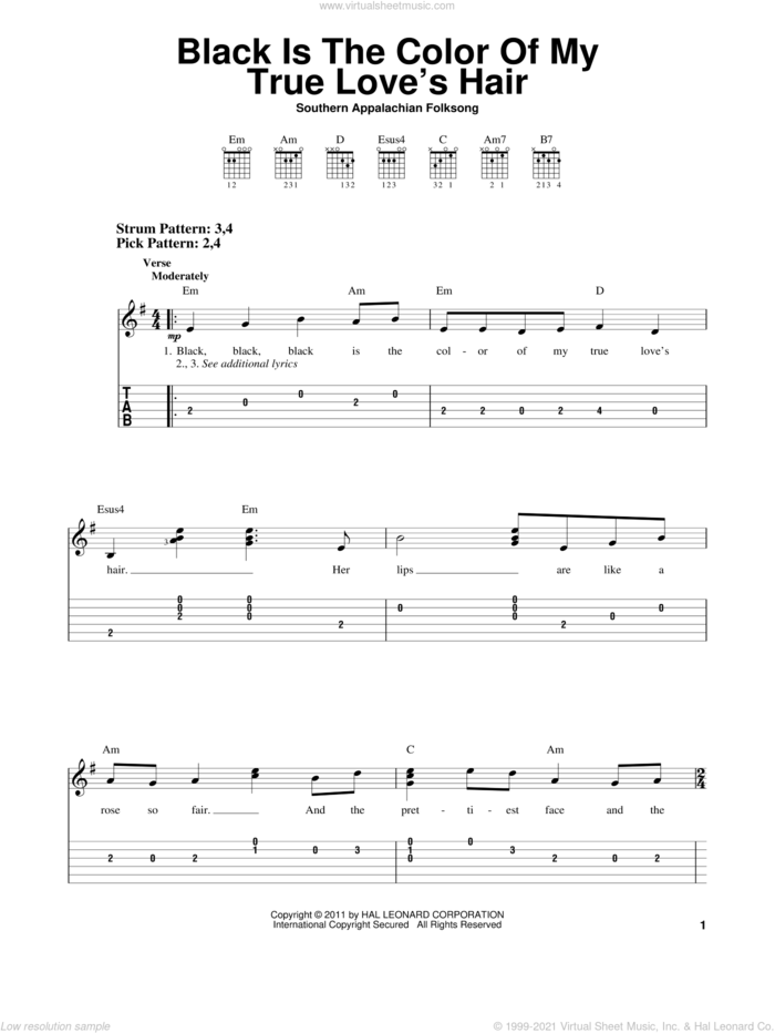 Black Is the Color of My True Love's Hair sheet music for guitar solo (easy tablature), easy guitar (easy tablature)