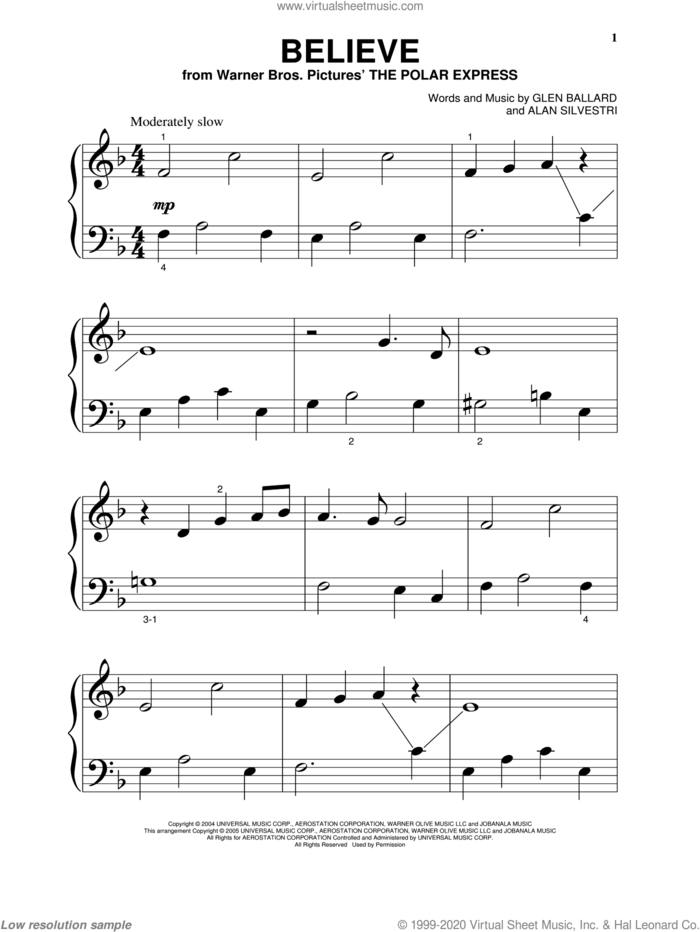 Believe (from The Polar Express) sheet music for piano solo (big note book) by Josh Groban, Alan Silvestri and Glen Ballard, easy piano (big note book)