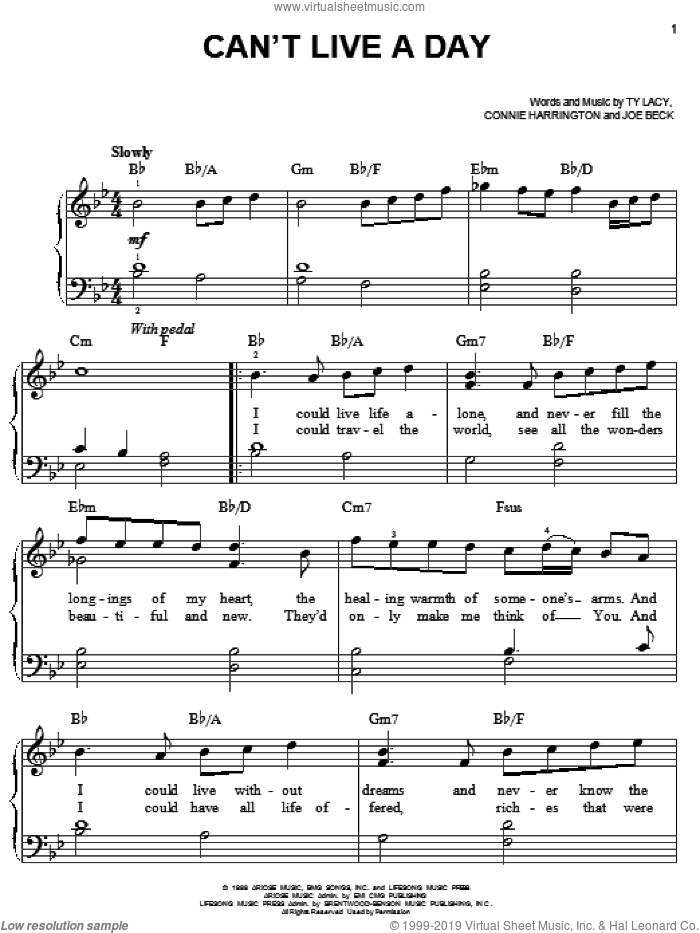 Can't Live A Day sheet music for piano solo by Avalon, Connie Harrington, Joe Beck and Ty Lacy, wedding score, easy skill level