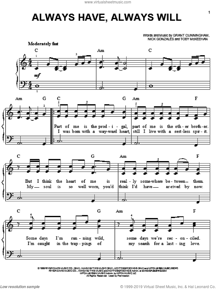 Always Have, Always Will sheet music for piano solo by Avalon, Grant Cunningham, Nick Gonzales and Toby McKeehan, easy skill level