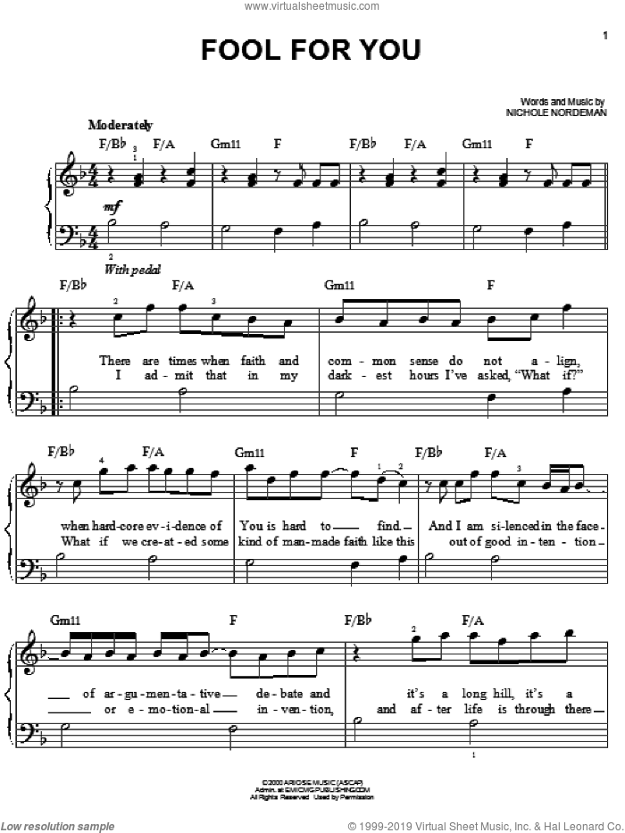 Fool For You sheet music for piano solo by Nichole Nordeman, easy skill level