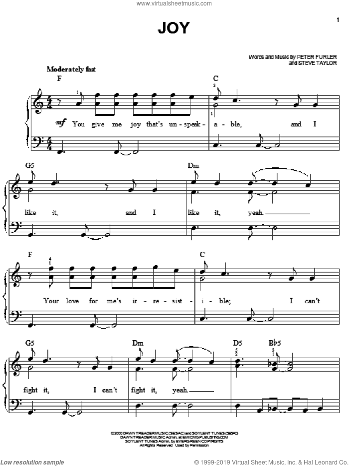 Joy sheet music for piano solo by Newsboys, Peter Furler and Steve Taylor, easy skill level