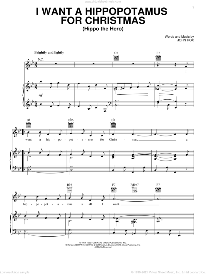I Want A Hippopotamus For Christmas (Hippo The Hero) sheet music for voice, piano or guitar by John Rox, intermediate skill level